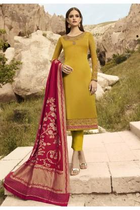 Designer Salwar Kameez Yellow Colour.