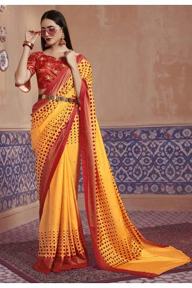 Yellow Colour Digital Print Saree.