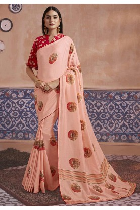Peach Colour Silk Saree.