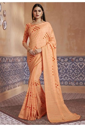 Orange Colour Printed Sari.