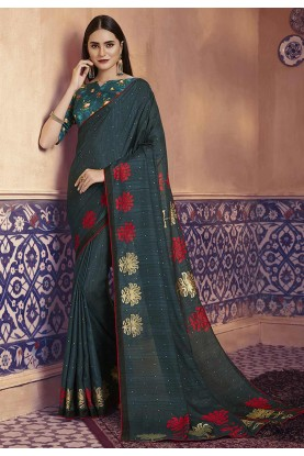 Steel Green Colour Digital Print Saree.