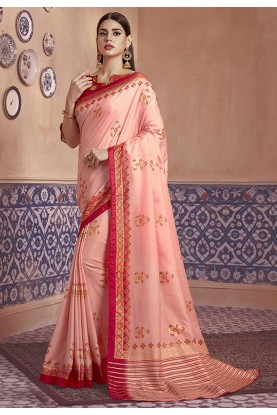 Baby Pink Colour Silk Sari.