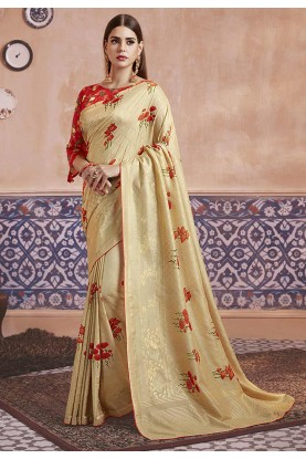 Digital Print Saree Cream Colour.