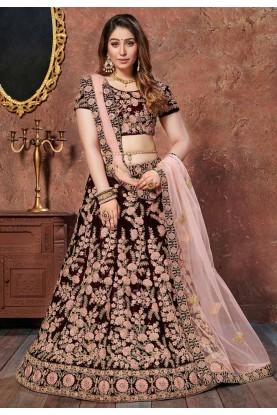 Maroon Colour Indian Wedding Lehenga Choli.