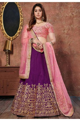 Purple Colour Silk Lehenga Choli.