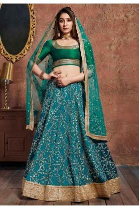Turquoise Colour Art Silk Lehenga.