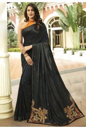 Black Colour Georgette,Silk Sari.