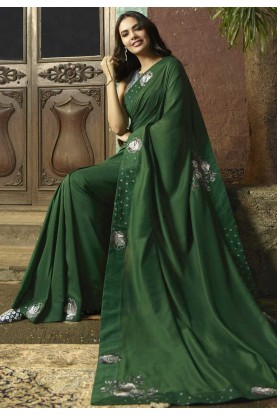 Green Colour Indian Designer Sari.