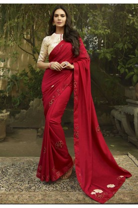 Red Colour Designer Silk Saree.