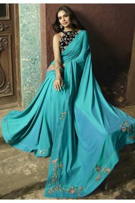 Turquoise Colour Bollywood Sari.