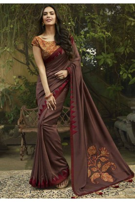 Georgette Saree Brown Colour.