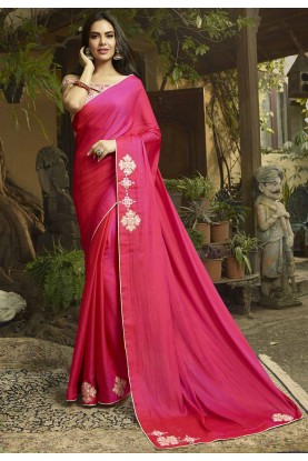 Pink Colour Georgette,Silk Sari.