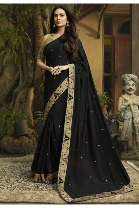 Black Colour Party Wear Sari.