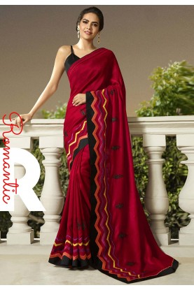 Maroon Colour Indian Wedding Sari.