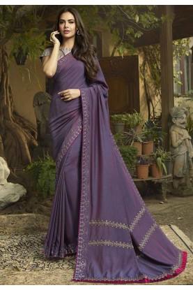 Purple Colour Georgette,Silk Sari.