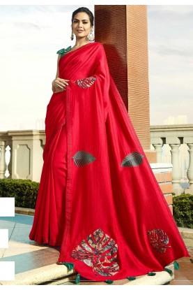 Red Colour Indian Designer Saree.