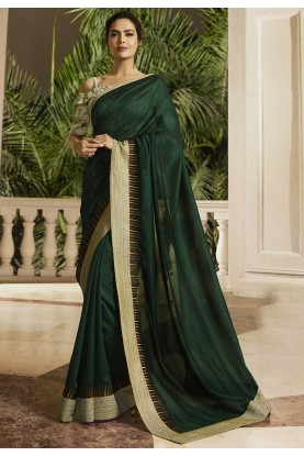 Green Colour Stylish Designer Saree.