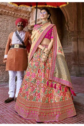 Pink Colour Indian Traditional Lehenga.