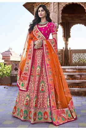Pink Colour Silk Designer Lehenga.