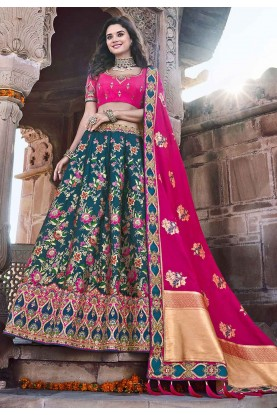 Green,Pink Colour Silk Traditional Lehenga.