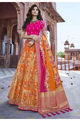 Orange Colour Designer Lehenga Choli.