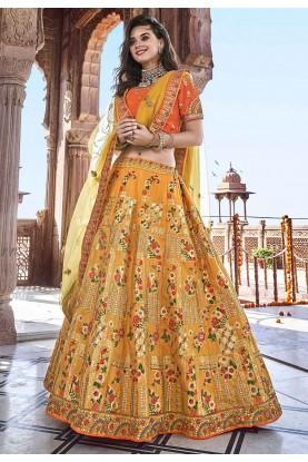 Yellow Colour Indian Wedding Lehenga Choli.