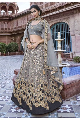 Grey Colour Silk Designer Lehenga.