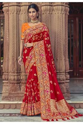 Indian Wedding Saree Maroon Colour.