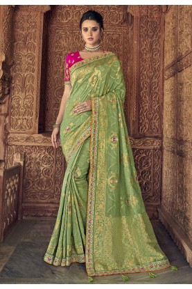 Pista Colour Silk Traditional Sari.