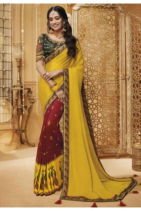 Indian Wedding Saree Yellow,Maroon Color.