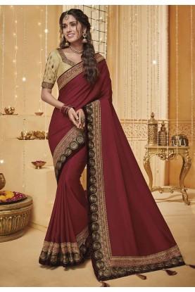 Maroon Colour Traditional Sari.