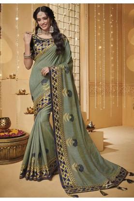 Pista Colour Silk Saree.