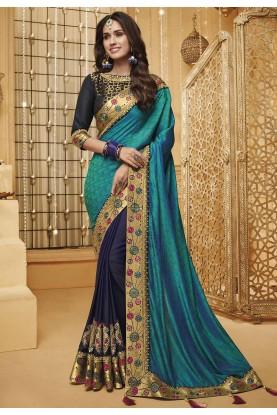 Blue Colour Silk Party Wear Sari.