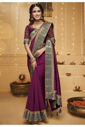 Magenta Colour Silk Festival Saree.