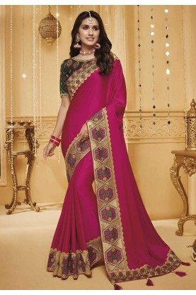 Pink Colour Designer Silk Saree.