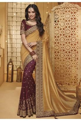 Golden,Maroon Colour Indian Wedding Sari.