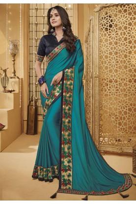 Firozi Colour Silk Sari.