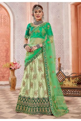 Pista Colour Indian Designer Lehenga.