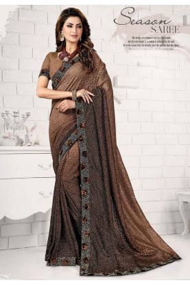 Brown Colour Designer Sari.
