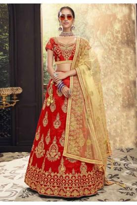 Red Colour Designer Wedding Lehenga Choli.