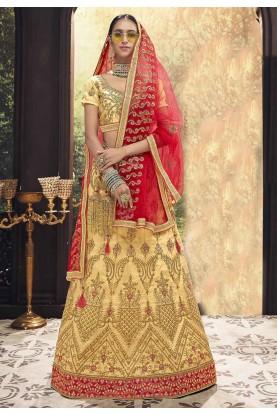 Beige Colour Wedding Lehenga Choli.