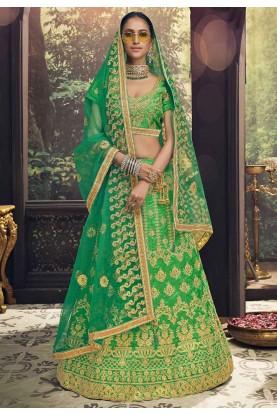 Green Indian Traditional Lehenga Choli.