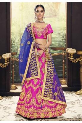 Pink Colour Banglori Silk Lehenga Choli.
