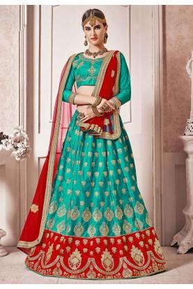 Green Colour Silk Lehenga Choli.