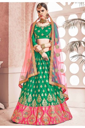 Green Colour Indian Designer Lehenga.