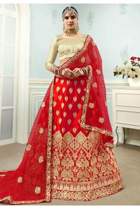 Red Colour Bridal Wear Lehenga Choli.