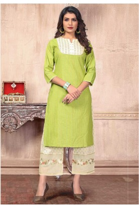 Green Colour Embroidery Kurti.