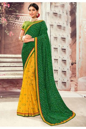 Green,Yellow Colour Designer Saree.