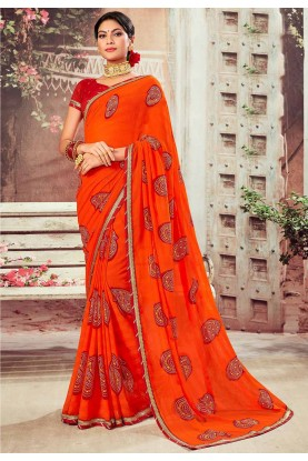 Chiffon Saree Orange Color.