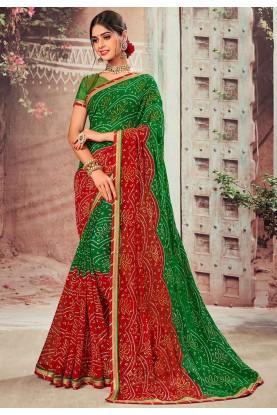Multi Colour Printed Chiffon Saree.